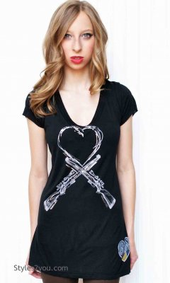 Ban Guns Bohemian Short Sleeve Tee Shirt In Black Signorelli