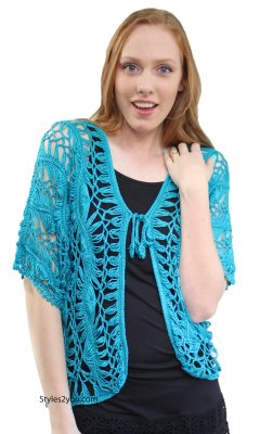 Vivienne Ladies Vintage Crochet Bolero Cardigan Aqua Kessley Top