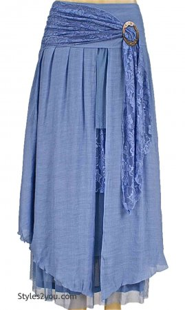 Antique Belted Skirt In Light Blue