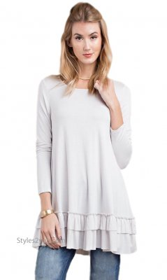 Celian Double Ruffle Tunic OR Layering Top In Off White