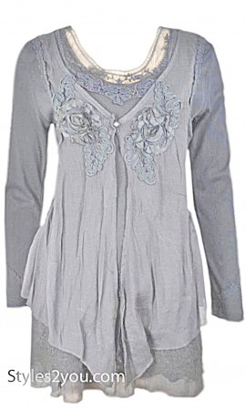 Madonna Layered Victorian Vintage Blouse Heather Gray