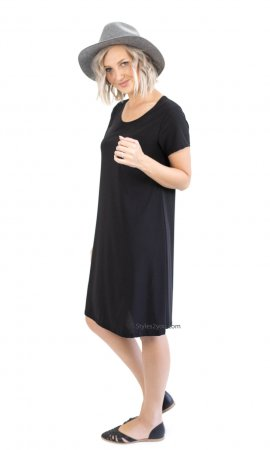 Madol Pretty Woman Ladies A-Line Short Sleeve Dress In Black