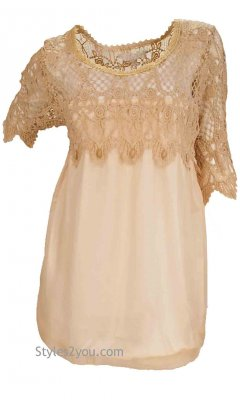 Moscow Vintage Crochet Lace Tunic In Caramel Pretty Angel Blouse