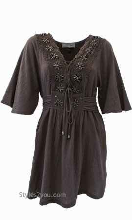 Fern Bohemian Shirt Dress In Ecru My Pretty Angel Clothing Dress