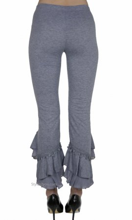 Miley Ladies Vintage Victorian Ruffle Pant Legging Gray Pants