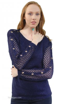 Careen Long Sleeve Loose Weave Cable Knit Sweater In Navy