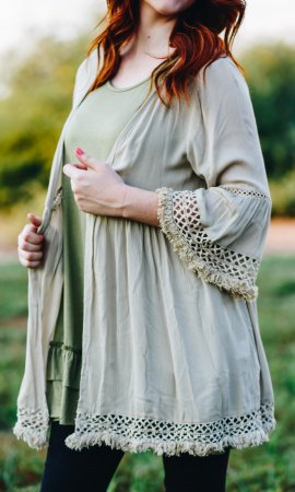 Temple 3/4 Sleeve Crochet Rayon Gauze Trim Detail Faded Sage