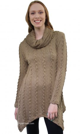 Tegan Ladies Cowl Neck Cable Knit Sweater Shirt Dress In Brown