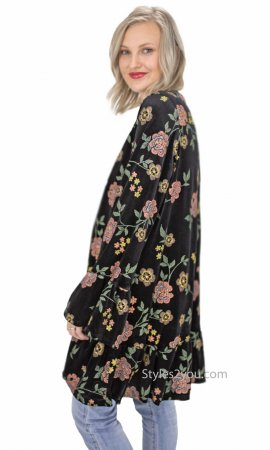 Amaris Ladies Floral Velvet Open Cardigan With Ruffles In Black