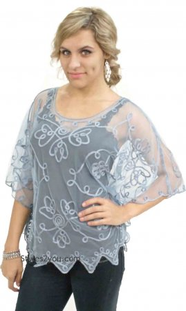 Reina Ladies Western Vintage Victorian All Lace Top In Blue