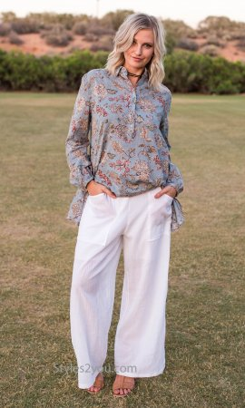 Hayden Ladies Wide Leg Cotton Pants In Off White Sacred Threads