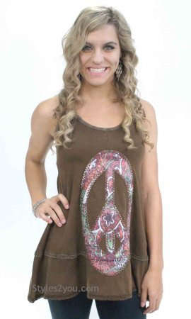 Hope Live In Peace Tank Tunic In Mocha
