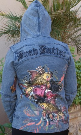 Butter Blue Heart And Fish Hooded Jacket With Rhinestones
