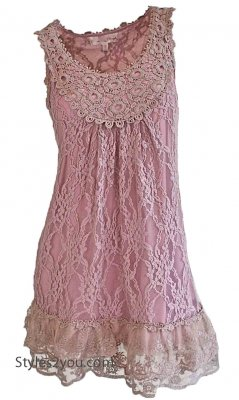 Anita Vintage Victorian Antique Lace Tunic In Pink