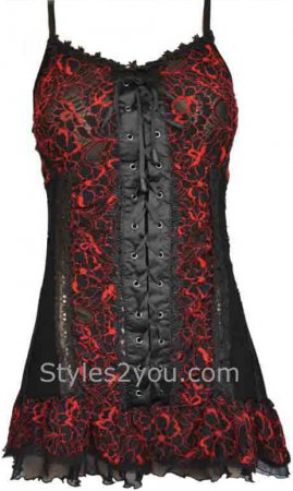 Archer Gypsy Boho Victorian Lace Up Camisole Top In Black & Red