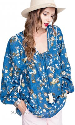 Albany Ladies Oversized Long Sleeve Peasant Top Blue Easel Tops