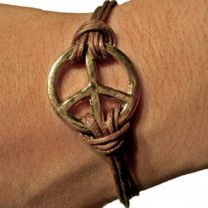 Gold And Brown Peace Bracelet For Women