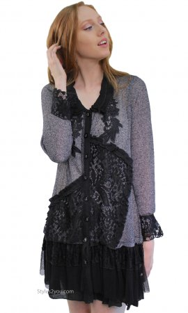 Josephine Ladies Shirt Dress Cardigan With Lace Skirt Black Tops