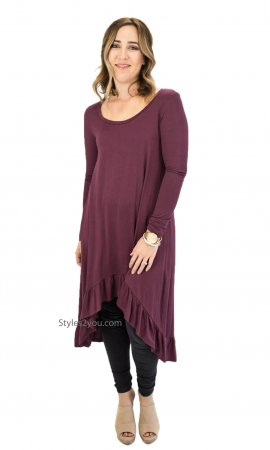 Morrison Oversize Hi Low Ruffle Layering Extender Tunic In Plum