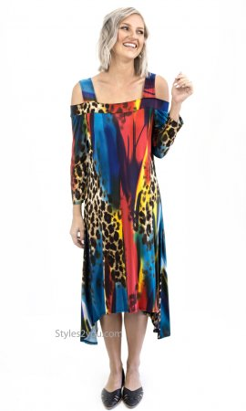 Frieda Ladies Pretty Woman Multi Color Cold Shoulder Dress