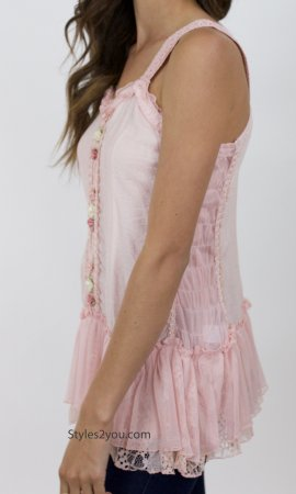 Kinslee Ladies Shabby Chic Top Tunic Dress In Peach Pretty Angel
