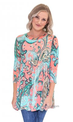 Inez Ladies 3/4 Sleeve Babydoll Loose Fit Top Tunic In Coral