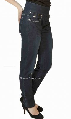 Lola Jeans Anna Skinny Pull On Denim Jeans Stone Blue