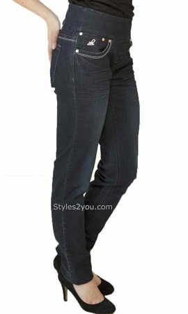 Lola Anna Skinny Ladies Pull On Denim Jeans Dark Blue RLB