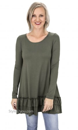 Celian PLUS SIZE Double Ruffle Tunic OR Extender Jungle Green