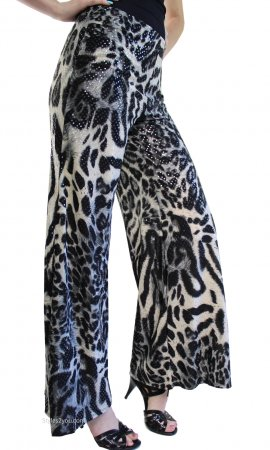 Dina Animal Print Palazzo Dress Pants  Cover Charge Clothing