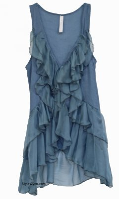 Virgie Victorian Button Down Ruffle Vest In Blue