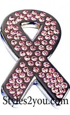 Swarovski Crystal Breast Cancer Support Ribbon