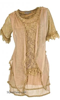 Emma Retro Layered Lace Vintage Victorian Blouse Brown
