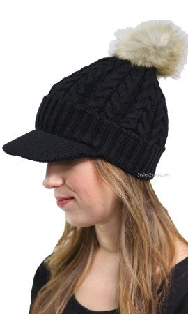 Cable Knit Beanie With Brim & Pom Pom In Black