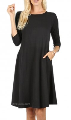 Dayna 3/4 Sleeve Cotton Dress With Pockets In Black