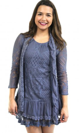 Alma Two Piece Lace Shirt Dress In Blue Sacred Threads Tops