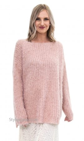 Champaign Ladies Oversized Loose Fitting Sweater Tunic In Mauve