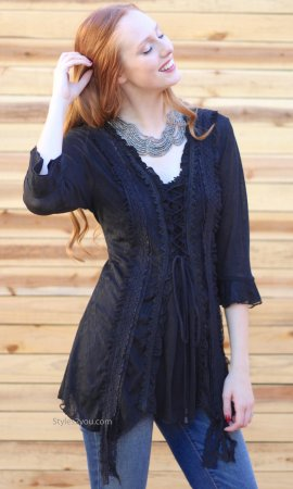 Renaissances Ladies Lace Up Top In Black