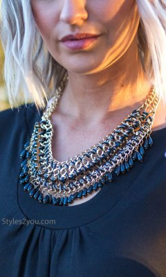 Beaded Collar Necklace In Black