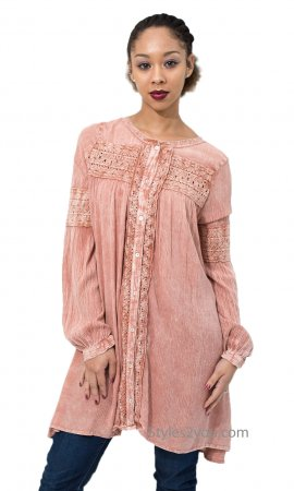 Delaware Button Down Mineral Washed Tunic Or Cardigan In Rose