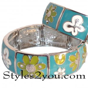 Blue Flower Stretch Bracelet With Rhinestones