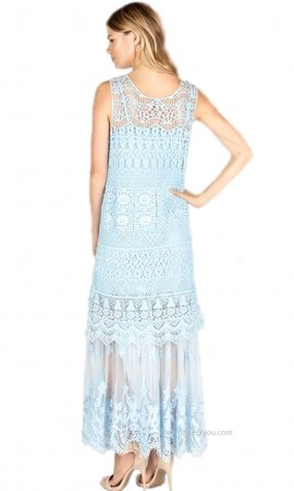Biltmore Two Piece Crochet & Lace Maxi Monoreno Dress Pale Blue