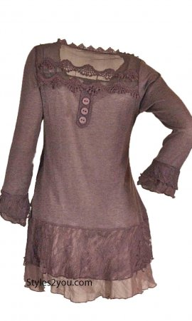 Rain Ladies PLUS SIZE Layered Vintage Victorian Blouse In Mauve