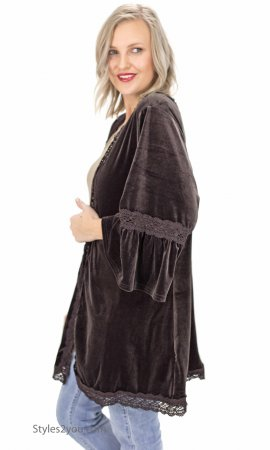 Dooney Oversized Bell Sleeve Velvet Cardigan Crochet Trim Mocha