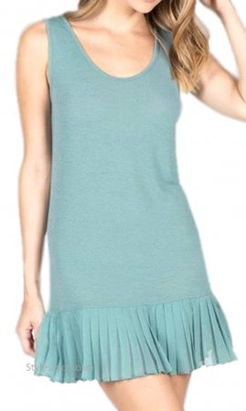 Brookwood Shirt Extender Tank Dress With Pleated Skirt Blue