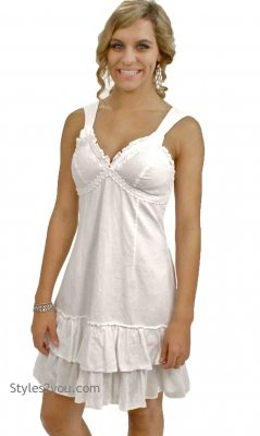Ashley Ladies All Cotton Tank Dress In White Natural Fashion