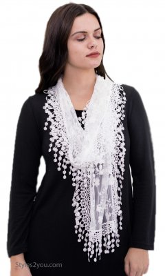 Ladies Crochet & Lace Vintage Victorian Lace Scarf In White