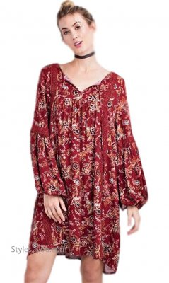 Lang Ladies Loose Fitting Boho Dress With Crochet Trims In Wine