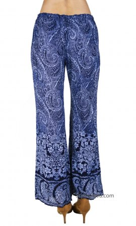Arlin Ladies Rayon Elastic Draw String Waisted Boho Pants Blues