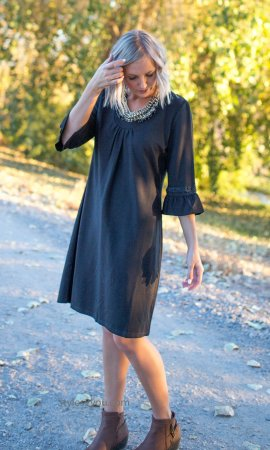 Cheyenne Aryeh Ladies Beaded 3/4 Bell Sleeve Dress In Black